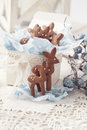 Gingerbread reindeer cookies and christmas decoration Stock Photography