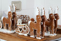 Gingerbread reindeers in an old bakery Royalty Free Stock Photo