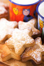 Gingerbread  star cookies with kids milk Stock Image