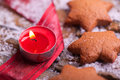 Gingerbread star cookies with tealight Royalty Free Stock Photography
