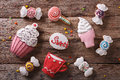 Gingerbread sweets close-up on the table. Horizontal top view Royalty Free Stock Photo