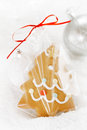 Gingerbread tree cookie in a bag on white snow background nice postcard Royalty Free Stock Image