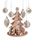 Gingerbread tree and xmas silver decoration decorative warm christmas balls Stock Photos