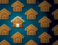 Gingerbreads in shape of christmas house with icin concept group holiday cookies qualitative vector eps illustration for new years Royalty Free Stock Photo