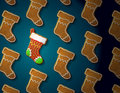 Gingerbreads in shape of christmas stocking with i concept group holiday cookies qualitative vector eps illustration for new years Stock Photos