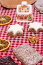 Gingerbreads and star shaped cinnamon cookies Stock Images