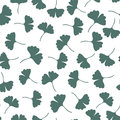 Ginkgo leaves seamless pattern. Herbs vector background. Can be used for wrapping, textile and package design