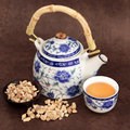 Ginseng tea herb with chinese teapot and cup over brown lokta handmade paper Stock Photography