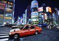 The ginza district a taxi stops in december in tokyo jp extends for km and is one of world s best known Royalty Free Stock Photos