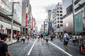 Ginza shoppers and tourists wander the streets of on september in tokyo japan Royalty Free Stock Images