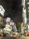 Ginza shopping area tokyo night lights and stores in of Stock Image