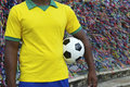 Giocatore di football americano brasiliano salvador wish ribbons di calcio Immagini Stock