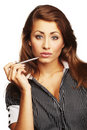 Giovane penna di holding sorridente del business-woman Fotografie Stock