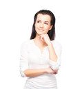 Giovane pensiero della donna del brunette immagine isolata su bianco Immagini Stock Libere da Diritti
