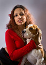 Gipsy girl with beagle. Stock Photos