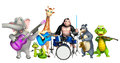 Giraffe,Apes,Bear,Aligator,Elephant and Snake collection with pr Royalty Free Stock Photo