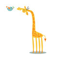 Giraffe and bird illustration of as friends Royalty Free Stock Photography