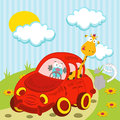 Giraffe and bird traveling by car vector illustration Stock Image