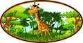 Giraffe cartoon on forest background illustration of Royalty Free Stock Photo