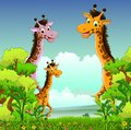 Giraffe cartoon with forest background illustration of Stock Photography
