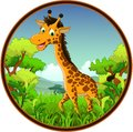 Giraffe cartoon on forest illustration of Stock Photo