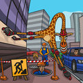 Giraffe crazy on roller skates going down the street Stock Image