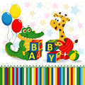 Giraffe and crocodile baby blocks vector illustration Stock Images