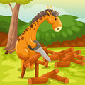 Giraffe cutting firewood illustration of landscape cartoon Stock Photo