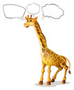 A giraffe with empty callouts illustration of on white background Stock Image