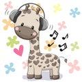 Giraffe with headphones