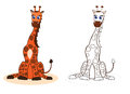 Giraffe illustration brown smiling cartoon Royalty Free Stock Photography