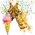 Giraffe illustration with splash watercolor textured background