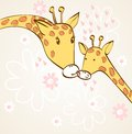 Giraffe and mom baby hand drawn illustration Royalty Free Stock Photo