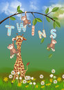 Giraffe and monkeys for twins cute twin birth announcement Royalty Free Stock Image
