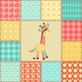 Giraffe patchwork pattern vintage seamless cartoon background Stock Photography