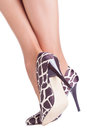Giraffe print shoes on lady isolated on white Stock Photos