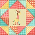 Giraffe quilt pattern vintage patchwork seamless background Stock Image