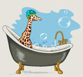 Giraffe sitting in the bathroom with soap bubbles on a blue background hand drawn vector illustration Stock Images