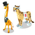Giraffe in suit and leopard in sports uniform