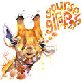 Giraffe T-shirt graphics. giraffe illustration
