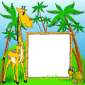 Giraffe and terrapin on background of the palms Stock Photography