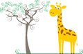 Giraffe and a tree Stock Photos