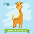 Giraffe vector forest animals wild and cartoon characters illustration funny animal Stock Image
