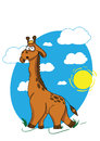 Giraffe walking through the savanna painted on background of blue sky Stock Image