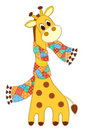 Giraffein in a scarf isolated giraffe application for children vector illustration on white Stock Photography