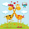 Giraffes boy, girl and bird Royalty Free Stock Photo