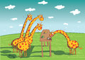 Giraffes eating dinner illustration is in eps mode Royalty Free Stock Image