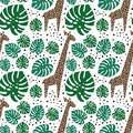 Giraffes, palm leaves and dots seamless pattern on white background.