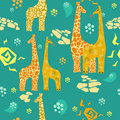 Giraffes seamless pattern with and sun Royalty Free Stock Photography