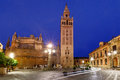 Giralda and Seville Cathedral at night, Spain Royalty Free Stock Photo